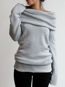 Boat Neck Loose Grey Sweater US$14.33