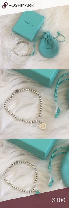 "Return To Tiffany Bead Bracelet Return to Tiffany Bead Bracelet  - Sterling silver tag with Tiffany Blue enamel finish  - 6.5"" long  - Bead, 4mm  Good condition, no trades! Tiffany & Co. Jewelry Bracelets"