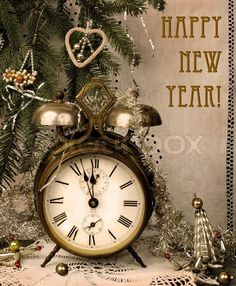 Stock photo ✓ 11 M images ✓ High quality images for web & print | Vintage New Year with antique alarm clock
