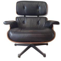 """Fauteuil """"Lounge"""" de Charles et Ray Eames - Cuir - Noir - Bon état - Design - 85012"""