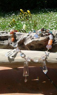 Collana e orecchini#cristalli# pietre dure#rame