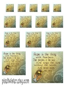 Bird Inspirational Poem Combination of Sizes by pixeltwister
