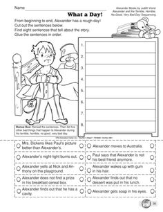 - Sequence of Events with Alexander and the Terrible Horrible No Good Very Bad Day Reading Strategies, Reading Activities, Reading Skills, Teaching Reading, Reading Comprehension, 2nd Grade Ela, Third Grade Reading, Second Grade, Grade 3