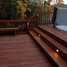 new deck for the new home. stairs lead to in-deck hottub (Wide Patio Step) Hot Tub Deck, Hot Tub Backyard, Backyard Patio, Garden Pool, Pergola Shade, Diy Pergola, Pergola Ideas, Pergola Kits, Sunken Hot Tub