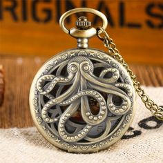 Steampunk Pocket Watch, Steampunk Octopus, Angel Outfit, Gift Vouchers, Steampunk Clothing, Watch Faces, Angel Clothing, Quartz, Bronze