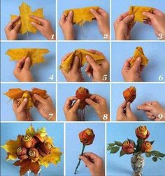 Fall leaves craft - make them into a floral arrangement