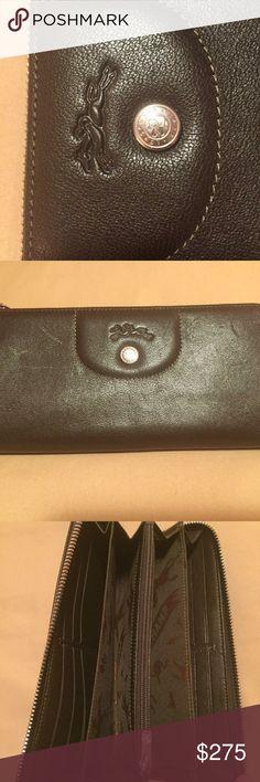 Longchamp Le Pliage Cuir Wallet Authentic Longchamp wallet, brown leather in excellent condition. MSRP $300 Longchamp Bags Wallets