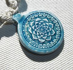 Flower of Life Chakra Lotus Hemp Necklace with Lampwork Glass & Turquoise Gemstone Beads - Natural Hemp Jewelry -  Sacred Geometry Pendant -. $16.00, via Etsy.