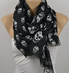 ON SALE Skull Scarf Cotton Scarf Infinity Scarf by LIFEPARTNER, $15.00