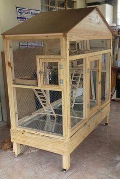 Perches For Parrots Big Bird Cage, Large Bird Cages, Cage Chinchilla, Pigeon Loft Design, Bird Cage Design, Diy Bird Toys, Rat Cage, Bird Aviary, House Plants Decor