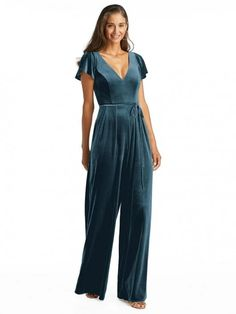 French Novelty: After Six 1542 Velvet Bridesmaid Jumpsuit