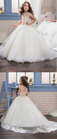 Marvelous Tulle & Satin Bateau Neckline Ball Gown Flower Girl Dresses With Lace Appliques