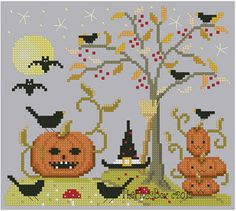 Pumpkin Night Cross Stitch by Theflossbox on Etsy, $3.75