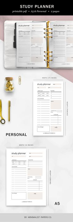 Minimalist Student Planner and Study Printable, Study and Academic Printable, School and College Planner - A5 & Personal Size For Individual Who Loves Minimalistic And Clean Design, Instant Download! College Planner, Student Planner, Weekly Schedule, Weekly Planner, Printable Planner, Printables, Planner Dividers, Papers Co, Clean Design