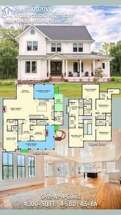 Architectural Designs Modern Farmhouse Plan 500020VV has an L-shaped front with an a private entry to a guest suite, perfect for an in-law or nanny suite. The home gives you 4,300+ square feet of heated living space and 4 bedrooms. Ready when you are. Where do YOU want to build? #500020VV (Make library into bedroom, add tub to half bath and eliminate dining room. Good one floor plan.)