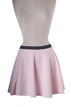 Women Jacquard Quilted Knit A-Line Flare Knit Skater Mini Peplum Skirt Waistband