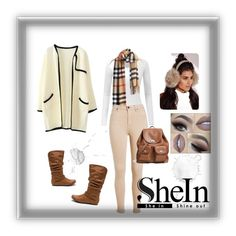 """""""KHAKI PLAID TASSEL SCARF BY SHEIN"""" by alien-official ❤ liked on Polyvore featuring Doublju, Coach and Missguided"""