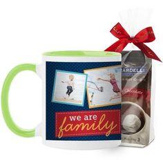 We Are Family Mug, Green, with Ghirardelli Premium Hot Cocoa, 11 oz, Blue