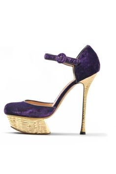 fall 2012, Nicholas Kirkwood, shoes, platforms, high heels, metallic, purple