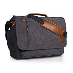 69dcf45f3234 Estarer Laptop Messenger Bag 17-17.3 Inch Water-resistance Canvas Shoulder  Bag for Work