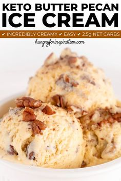 Can't have ice cream on a low carb or keto diet? Think again! This Keto Butter Pecan Ice Cream has only 2.5g net carbs per serving and tastes soooo good! Ditch the sugar-laden stuff and make your own incredibly creamy keto ice cream! #ketoicecream #butterpecan #lowcarbicecream #ketotreat