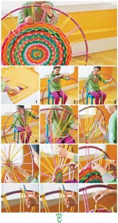 HULA HOOP RUG using colorful T-shirt scraps.  LOVE!!