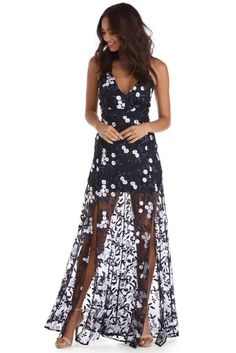 Lydia Navy Floral Embroidered Dress | WindsorCloud