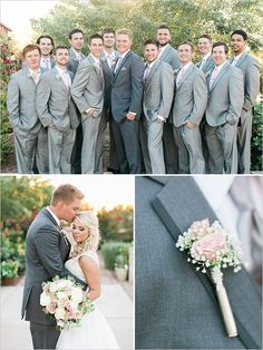 Gray and pink groomsman looks @weddingchicks