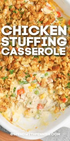 Chicken Stuffing Casserole only has 5 simple ingredients. Everything cooks in one dish, making this dish a super easy option for dinner! Easy Casserole Recipes, Stuffing Recipes, Casserole Dishes, Chicken Stuffing Casserole, Homemade Lasagna, Food Dishes, Main Dishes, Cooking Recipes, Amish Recipes