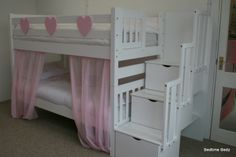 staircase bunk bed, white, waxed built in storage steps - Bedtime Bedz
