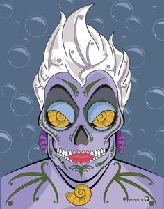Ursula Sugar Skull Print 11x14 print by Nutcracks on Etsy. Disney Villain Series.