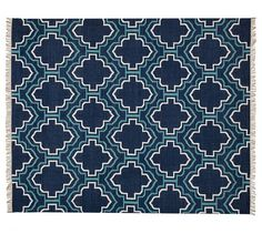 You can always order the smallest size to see if you like it- less expensive to return. I like that it has the lighter blue in it as well as darker. And the pattern would hide things better. ;) Borden Tile Recycled Yarn Indoor/Outdoor Rug - Indigo | Pottery Barn