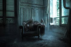 Jeremy Gibbs, Ayla in Decay, nude posing in abandoned building, expression dark passion