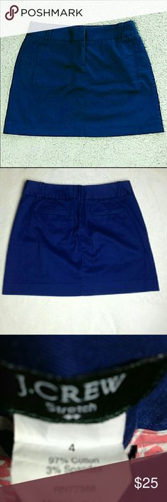 """J. Crew factory blue stretch mini skirt w/ pockets J. Crew factory stretchy blue mini skirt with pockets. The 2 pockets in back are fake. Zipper fly with 2 clasp closure. No rips or stains. 97% cotton 3% spandex.  Length is approximately 15"""" waist is approximately 15.5"""" size 4. J. Crew Factory Skirts Mini"""