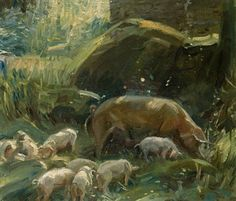 Sir Alfred James Munnings - Sow and Piglets, 1917,...