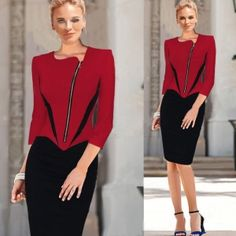US$9.95 Red Asymmetrical Front ZIP Peplum Pencil Dress 15808-3