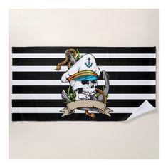 Skipper Skull Nautical Tattoo Beach Towel (£34) ❤ liked on Polyvore featuring home, bed & bath, bath, beach towels, nautical beach towels and skull beach towel