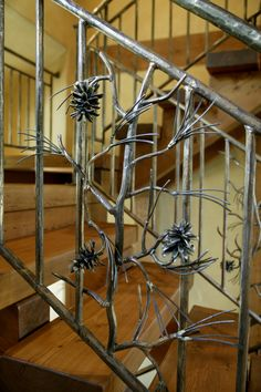 Edgewood Custom Log Homes- Hand Wrought Iron Bannister