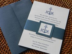 Nautical Wedding Invitation Suite with metallic envelopes and belly band reserved for leahhalsey. $153.00, via Etsy.