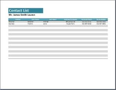 School Class Contact List Template Excel  ExeclTemplate