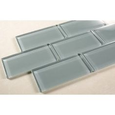 Ice Mist Glossy - 3x6 Blue Grey Glass Tile - Bathroom Tile & Kitchen Backsplash Tile (price per square feet, 8 pieces)