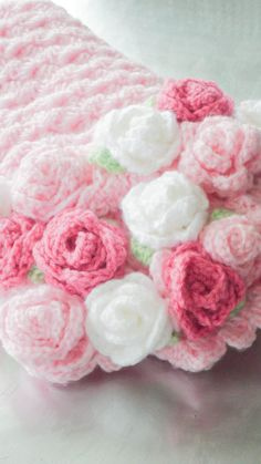 Baby Blanket Crochet Roses Blanket Pink Baby by RosieOriginals. // SO SWEET!!! A