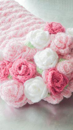 I LOVE THIS!!! Baby Blanket Crochet Roses Blanket Pink Baby by RosieOriginals, $55.00