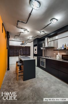 Industrial kitchen interior design at Ang Mo Kio Ave 1 HDB.