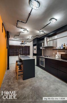 Industrial kitchen interior design at Ang Mo Kio Ave 1 HDB.