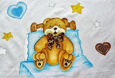 pintura de ursinho sentado na cama