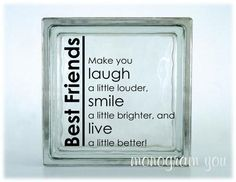 Best Friends Glass Block Vinyl Decal 038 by MonogramYou on Etsy Decorative Glass Blocks, Lighted Glass Blocks, Vinyl Crafts, Vinyl Projects, Brick Crafts, Stone Crafts, Wood Crafts, Cubes, Glass Block Crafts
