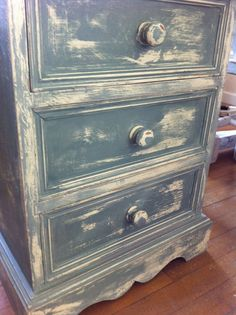A bedroom commission... Annie Sloan Duck Egg Blue heavily distressed :)