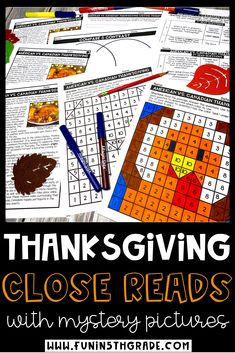 Thanksgiving close reads with mystery pictures is a great engaging activity to celebrate Thanksgiving in the upper elementary classroom.  Your students will love practicing close reading strategies while learning about the history of Thanksgiving. There are three DIFFERENT passages each DIFFERENTIATED at three DIFFERENT reading levels. Can be printed and used digitally. Each text comes with 10 text dependent questions, a writing prompt, graphic organizers, and a mystery grid picture. Thanksgiving History, Canadian Thanksgiving, Thanksgiving Activities, Reading Passages, Reading Comprehension, Teaching Resources, Teaching Ideas, Close Reading Strategies, Text Dependent Questions