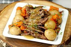 The Best Crock pot Roast Recipe that you can make without seasoning packets. Try this easy slow cooker pot roast with veggies that taste amazing! Roast Recipe Easy, Pot Roast Recipes, Healthy Crockpot Recipes, Beef Recipes, Cooking Recipes, Beef Meals, Slow Cooker Roast Beef, Crock Pot Slow Cooker, Crock Pot Cooking
